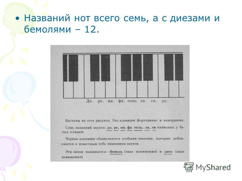 Названий нот всего семь, а с диезами и бемолями – 12.
