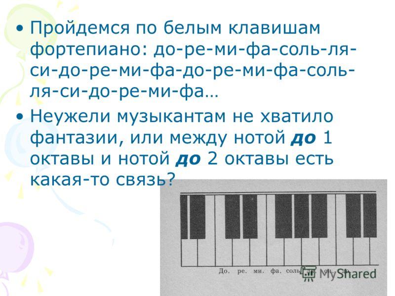 Пройдемся по белым клавишам фортепиано: до-ре-ми-фа-соль-ля- си-до-ре-ми-фа-до-ре-ми-фа-соль- ля-си-до-ре-ми-фа… Неужели музыкантам не хватило фантазии, или между нотой до 1 октавы и нотой до 2 октавы есть какая-то связь?