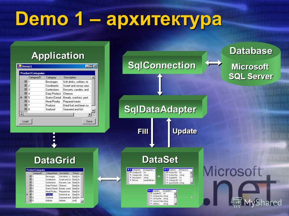 DataGrid DataSetDatabaseMicrosoft SQL Server SqlConnection SqlDataAdapter Fill Update Demo 1 – архитектура Application