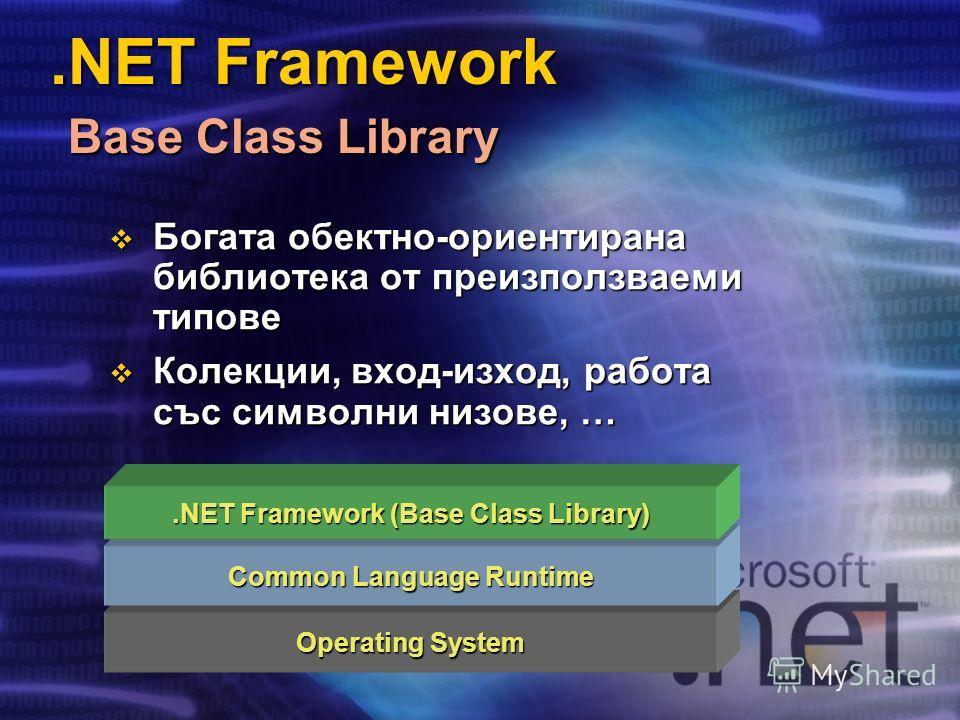 .NET Framework Base Class Library Operating System Common Language Runtime.NET Framework (Base Class Library) Богата обектно-ориентирана библиотека от преизползваеми типове Богата обектно-ориентирана библиотека от преизползваеми типове Колекции, вход