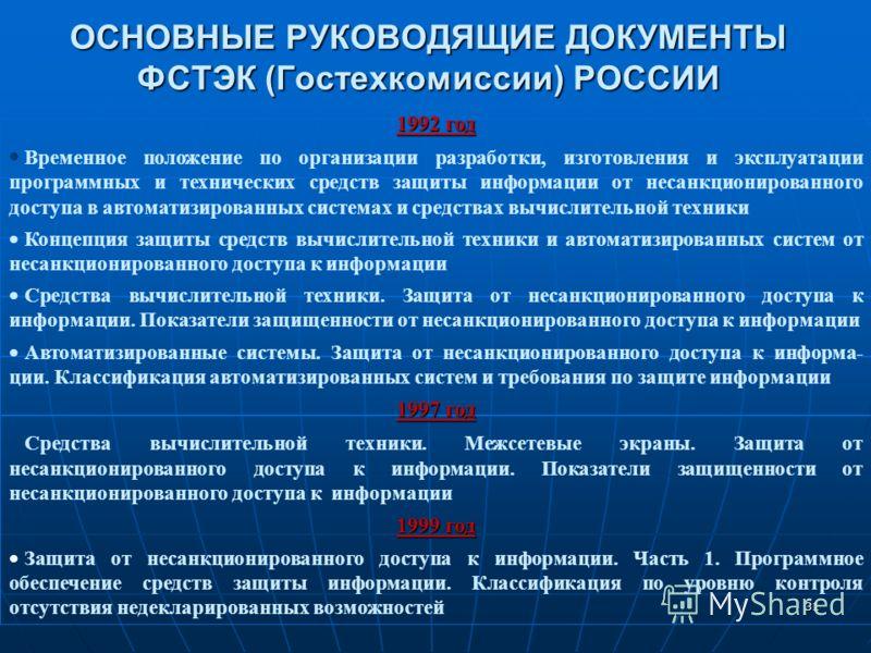31 ОСНОВНЫЕ РУКОВОДЯЩИЕ ДОКУМЕНТЫ ФСТЭК (Гостехкомиссии) РОССИИ 1992 год Временное положение по организации разработки, изготовления и эксплуатации программных и технических средств защиты информации от несанкционированного доступа в автоматизированн