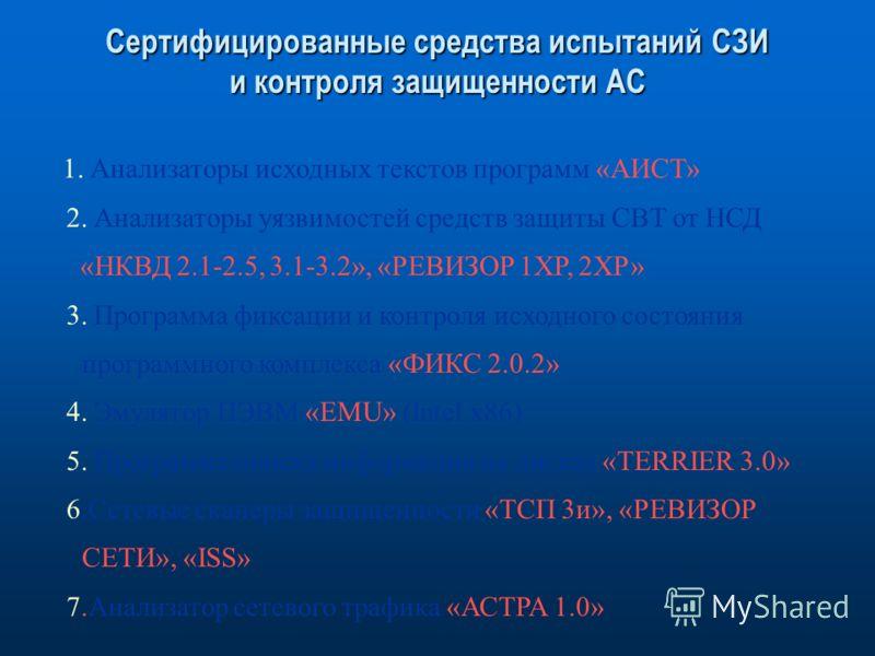 Сертифицированные средства испытаний СЗИ и контроля защищенности АС 1. Анализаторы исходных текстов программ «АИСТ» 2. Анализаторы уязвимостей средств защиты СВТ от НСД «НКВД 2.1-2.5, 3.1-3.2», «РЕВИЗОР 1ХР, 2ХР» 3. Программа фиксации и контроля исхо