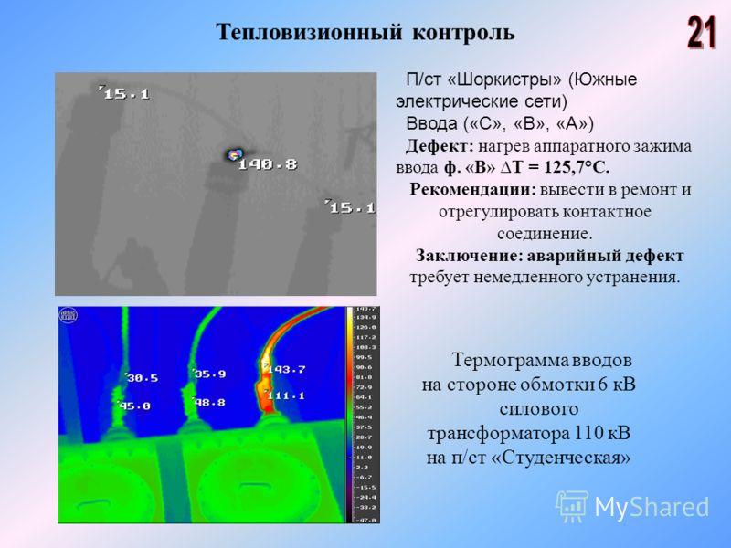 Тепловизионный контроль П/ст «Шоркистры» (Южные электрические сети) Ввода («С», «В», «А») Дефект: нагрев аппаратного зажима ввода ф. «В» Т = 125,7°С. Рекомендации: вывести в ремонт и отрегулировать контактное соединение. Заключение: аварийный дефект