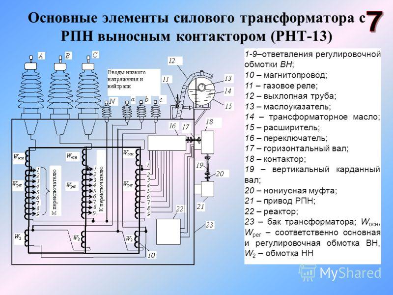 Основные элементы силового трансформатора с РПН выносным контактором (РНТ-13) 1-9–ответвления регулировочной обмотки ВН; 10 – магнитопровод; 11 – газовое реле; 12 – выхлопная труба; 13 – маслоуказатель; 14 – трансформаторное масло; 15 – расширитель;