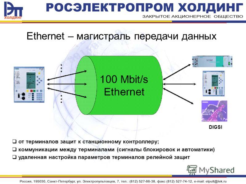 Ethernet – магистраль передачи данных от терминалов защит к станционному контроллеру; коммуникации между терминалами (сигналы блокировок и автоматики) удаленная настройка параметров терминалов релейной защит DIGSI