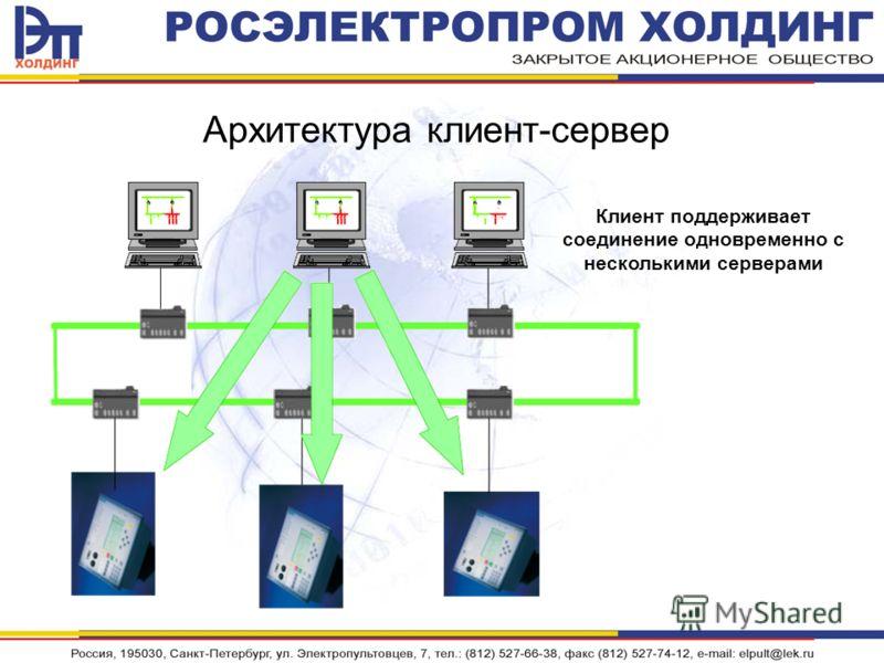 Архитектура клиент-сервер Клиент поддерживает соединение одновременно с несколькими серверами
