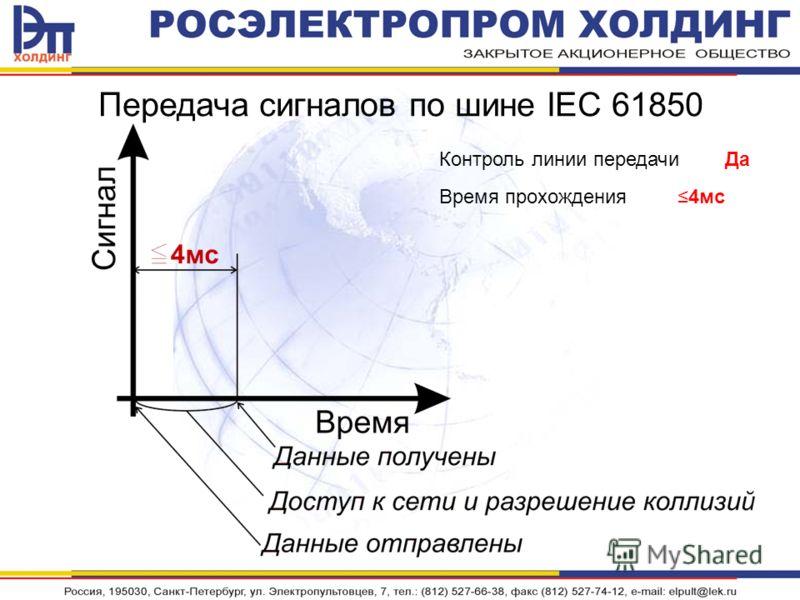 Передача сигналов по шине IEC 61850 Контроль линии передачи Да Время прохождения 4мс