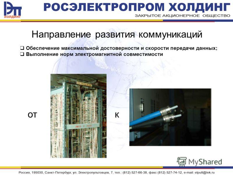 Направление развития коммуникаций кот Обеспечение максимальной достоверности и скорости передачи данных; Выполнение норм электромагнитной совместимости