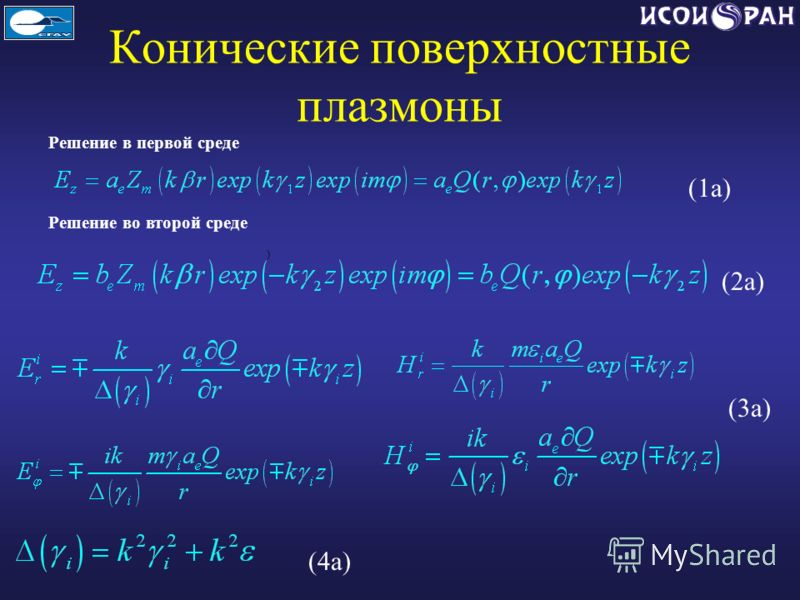 Конические поверхностные плазмоны Решение в первой среде Решение во второй среде ) (1a) (2a) (3a) (4a)