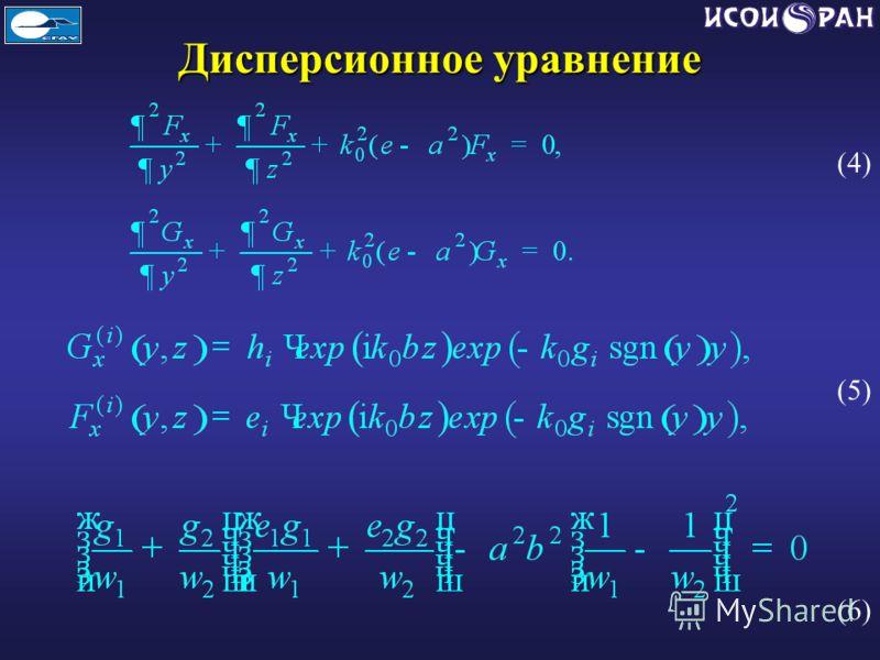 Дисперсионное уравнение (4) (5) (6)