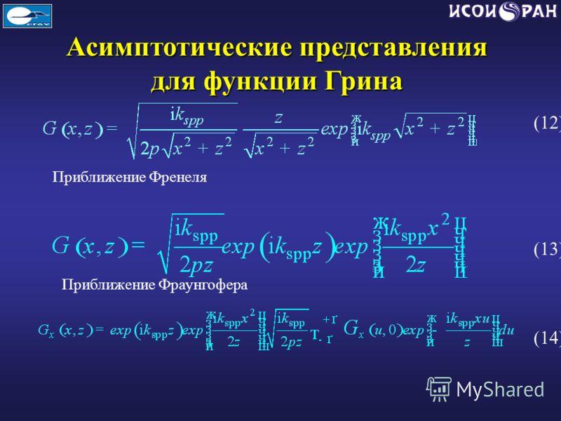 Асимптотические представления для функции Грина Приближение Френеля Приближение Фраунгофера (12) (13) (14)