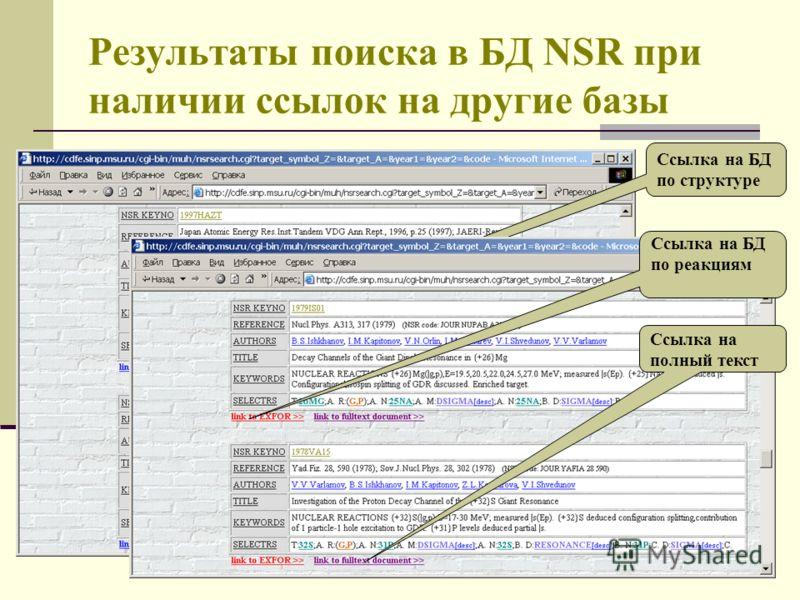 Результаты поиска в БД NSR при наличии ссылок на другие базы Ссылка на БД по структуре Ссылка на БД по реакциям Ссылка на полный текст
