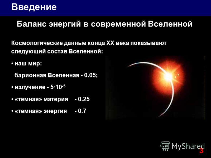 Баланс энергий в современной Вселенной Космологические данные конца XX века показывают следующий состав Вселенной: наш мир: барионная Вселенная - 0.05; излучение - 5·10 -5 «темная» материя- 0.25 «темная» энергия - 0.7 Введение 3
