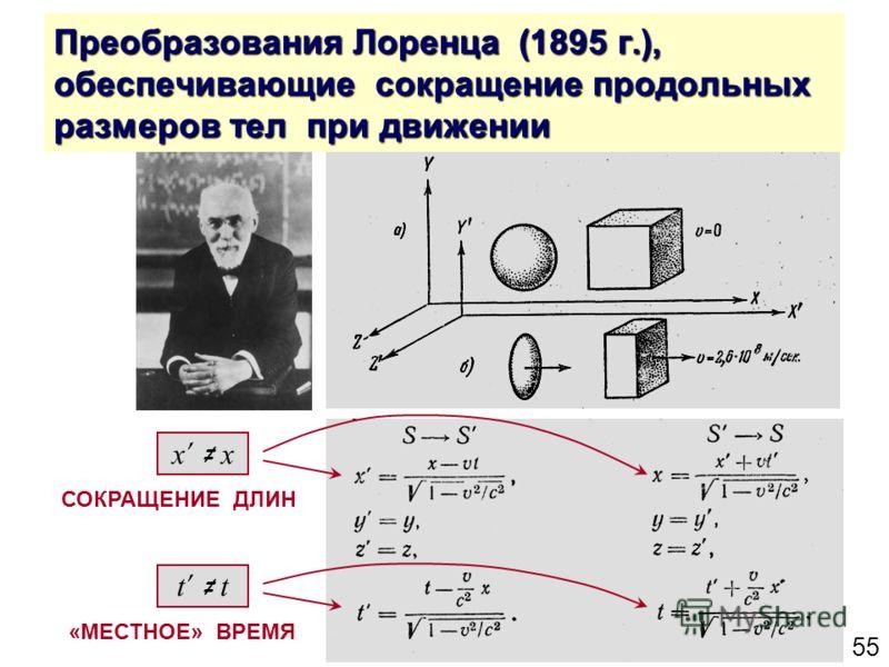55 Преобразования Лоренца (1895 г.), обеспечивающие сокращение продольных размеров тел при движении «МЕСТНОЕ» ВРЕМЯ t x СОКРАЩЕНИЕ ДЛИН