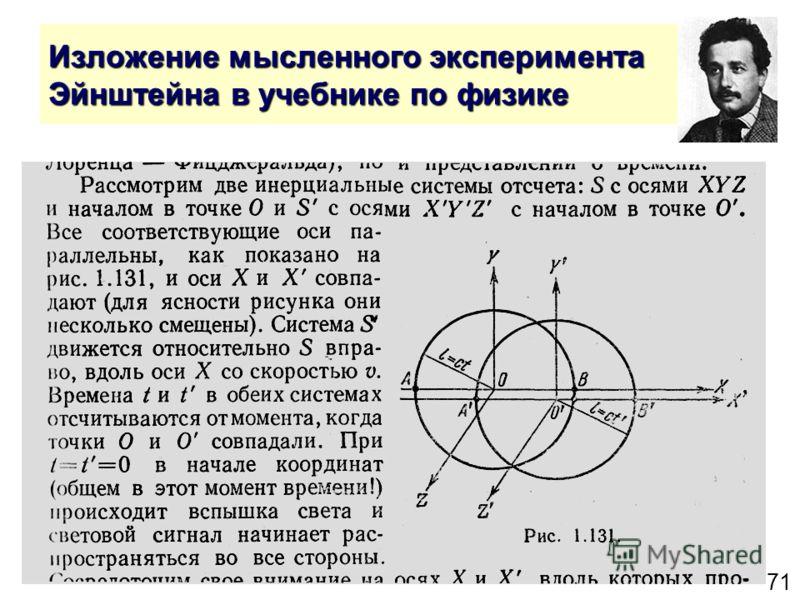 71 Изложение мысленного эксперимента Эйнштейна в учебнике по физике