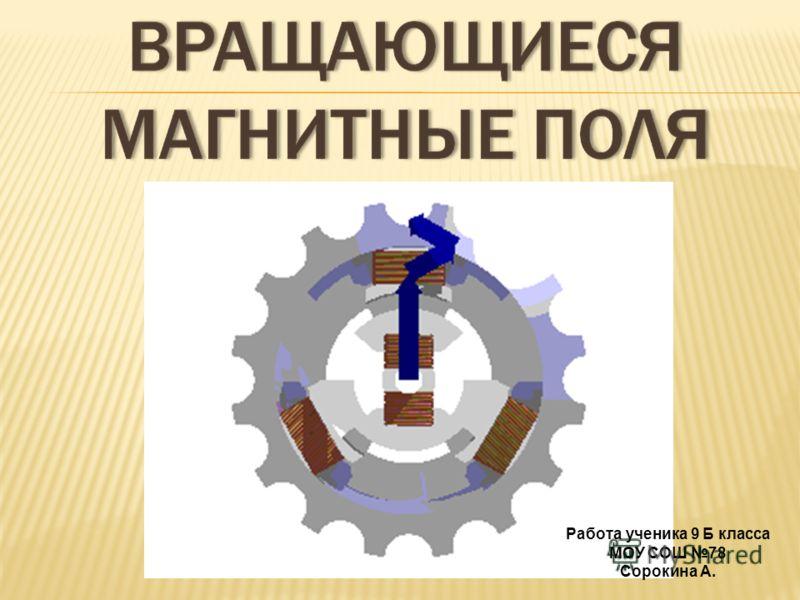 Работа ученика 9 Б класса МОУ СОШ 78 Сорокина А.