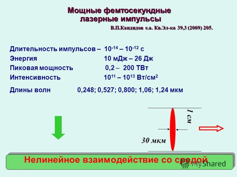 Мощные фемтосекундные лазерные импульсы лазерные импульсы В.П.Кандидов е.а. Кв.Эл-ка 39,3 (2009) 205. В.П.Кандидов е.а. Кв.Эл-ка 39,3 (2009) 205. Длительность импульсов – 10 -14 – 10 -12 с Энергия 10 мДж – 26 Дж Пиковая мощность 0,2 – 200 ТВт Интенси