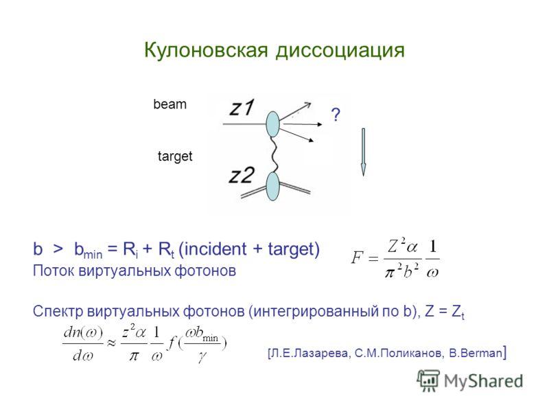 Кулоновская диссоциация b > b min = R i + R t (incident + target) Поток виртуальных фотонов Спектр виртуальных фотонов (интегрированный по b), Z = Z t [Л.Е.Лазарева, С.М.Поликанов, B.Berman ] beam target ?
