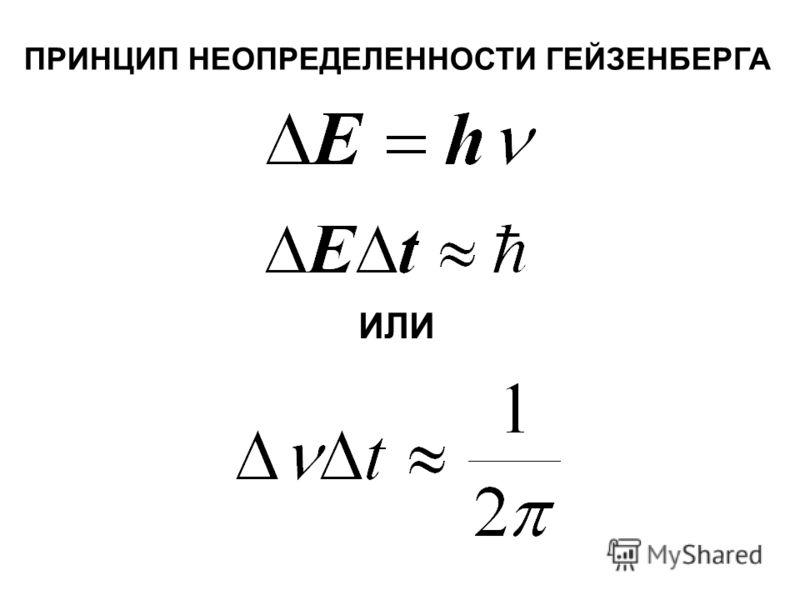 ИЛИ ПРИНЦИП НЕОПРЕДЕЛЕННОСТИ ГЕЙЗЕНБЕРГА