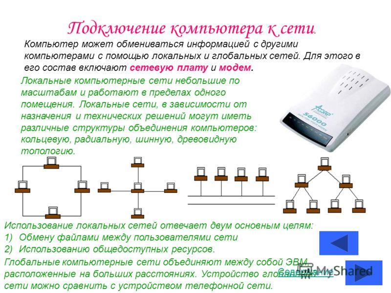 Подключение компьютера к сети. Компьютер может обмениваться информацией с другими компьютерами с помощью локальных и глобальных сетей. Для этого в его состав включают сетевую плату и модем. Локальные компьютерные сети небольшие по масштабам и работаю
