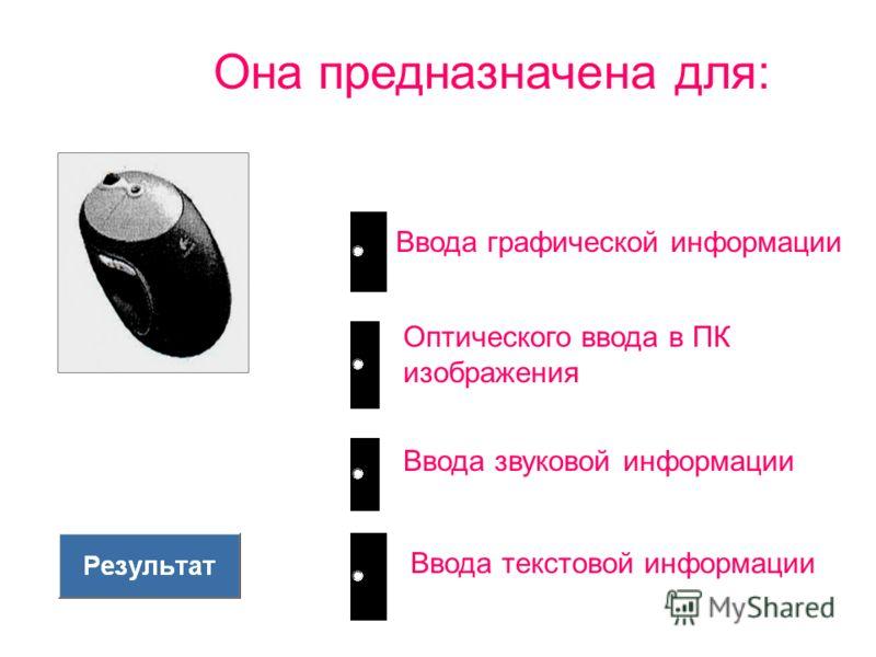 Она предназначена для: Ввода графической информации Оптического ввода в ПК изображения Ввода звуковой информации Ввода текстовой информации