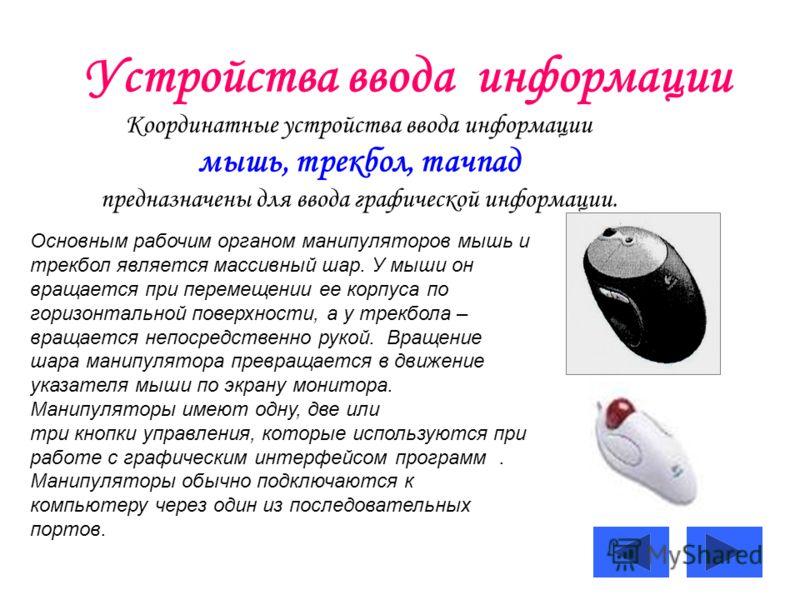 Устройства ввода информации Координатные устройства ввода информации мышь, трекбол, тачпад предназначены для ввода графической информации. Основным рабочим органом манипуляторов мышь и трекбол является массивный шар. У мыши он вращается при перемещен