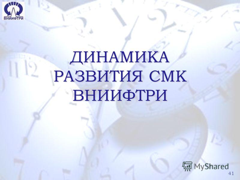 41 ДИНАМИКА РАЗВИТИЯ СМК ВНИИФТРИ