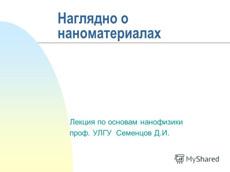 Наглядно о наноматериалах Лекция по основам нанофизики проф. УЛГУ Семенцов Д.И.