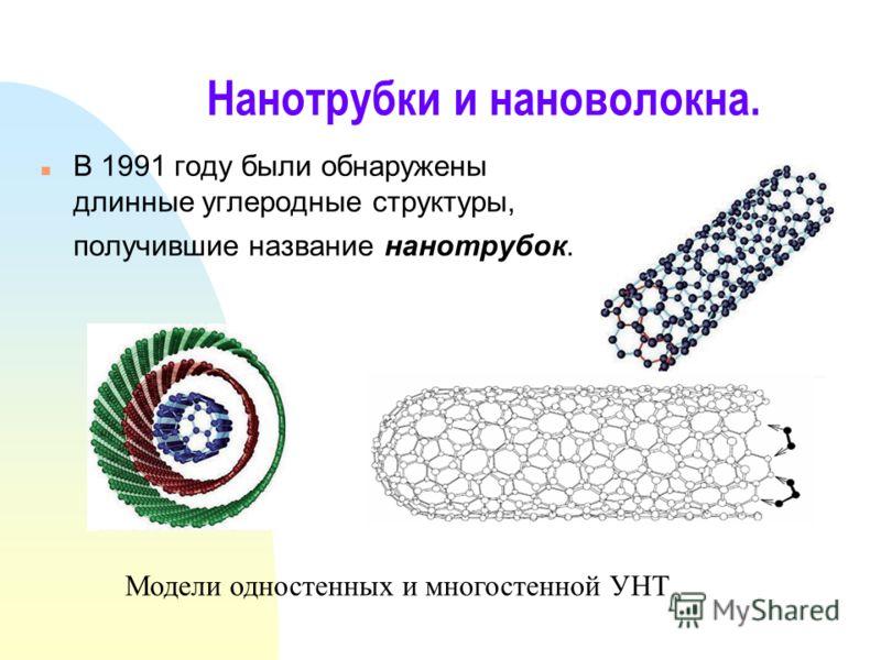 Нанотрубки и нановолокна. n В 1991 году были обнаружены длинные углеродные структуры, получившие название нанотрубок. Модели одностенных и многостенной УНТ