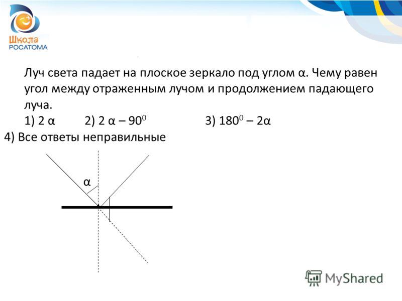 Луч света падает на плоское зеркало под углом α. Чему равен угол между отраженным лучом и продолжением падающего луча. 1) 2 α2) 2 α – 90 0 3) 180 0 – 2α 4) Все ответы неправильные α
