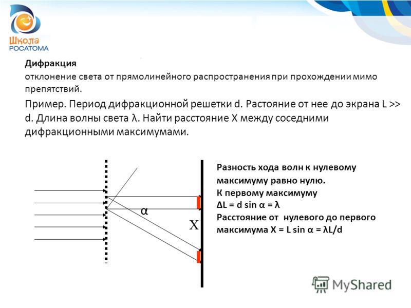 Дифракция отклонение света от прямолинейного распространения при прохождении мимо препятствий. Пример. Период дифракционной решетки d. Растояние от нее до экрана L >> d. Длина волны света λ. Найти расстояние Х между соседними дифракционными максимума
