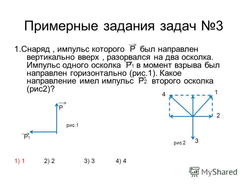 Примерные задания задач 3 1.Снаряд, импульс которого Р был направлен вертикально вверх, разорвался на два осколка. Импульс одного осколка Р 1 в момент взрыва был направлен горизонтально (рис.1). Какое направление имел импульс Р 2 второго осколка (рис