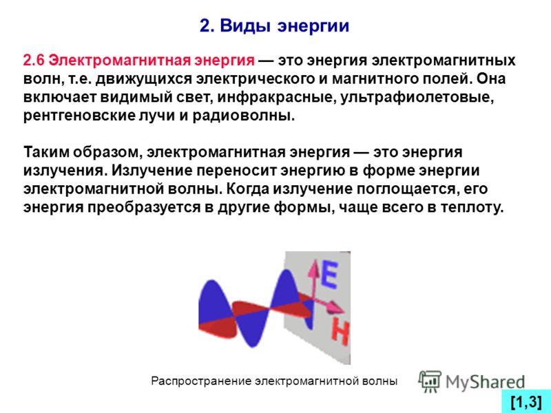 2. Виды энергии [1,3] 2.6 Электромагнитная энергия это энергия электромагнитных волн, т.е. движущихся электрического и магнитного полей. Она включает видимый свет, инфракрасные, ультрафиолетовые, рентгеновские лучи и радиоволны. Таким образом, электр