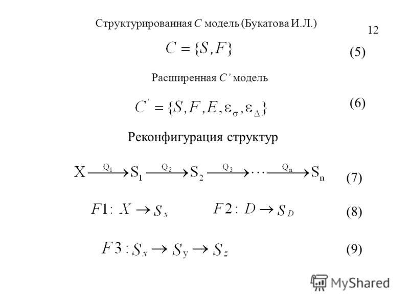 Структурированная С модель (Букатова И.Л.) Реконфигурация структур (6) (7) (8) Расширенная С модель 12 (5) (9)