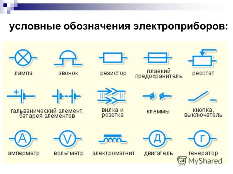 условные обозначения электроприборов: