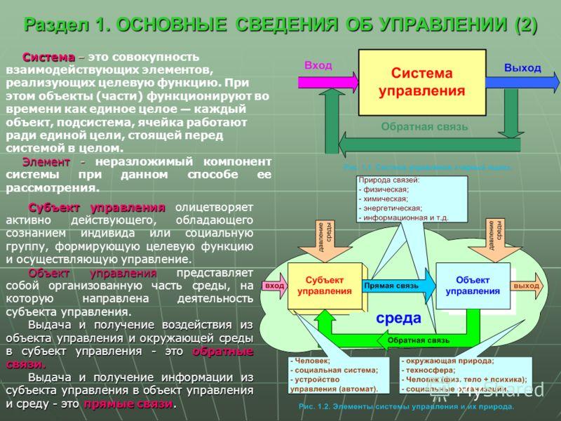 Раздел 1. ОСНОВНЫЕ СВЕДЕНИЯ ОБ УПРАВЛЕНИИ (2) Система – Система – это совокупность взаимодействующих элементов, реализующих целевую функцию. При этом объекты (части) функционируют во времени как единое целое каждый объект, подсистема, ячейка работают