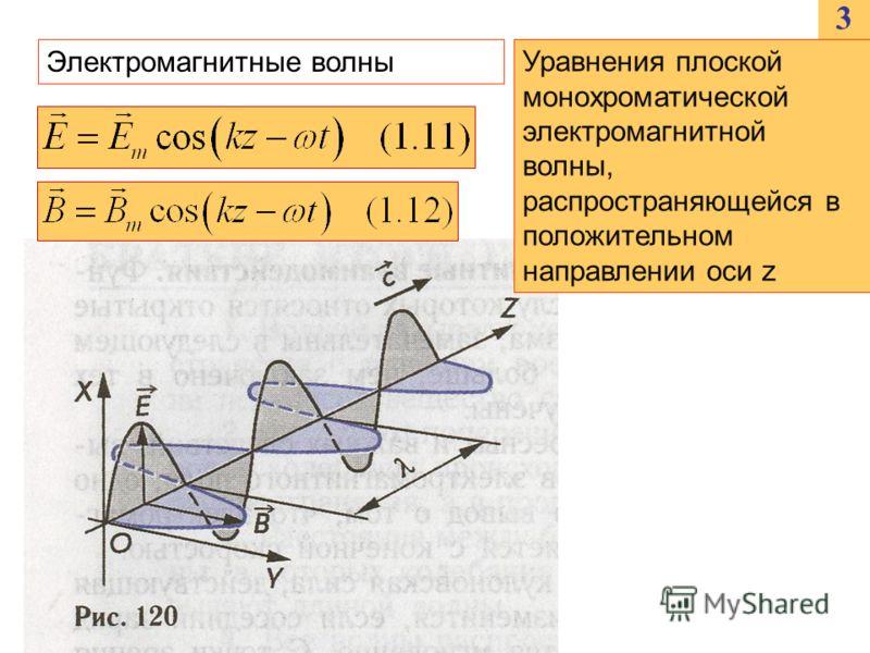 3 Электромагнитные волны Уравнения плоской монохроматической электромагнитной волны, распространяющейся в положительном направлении оси z