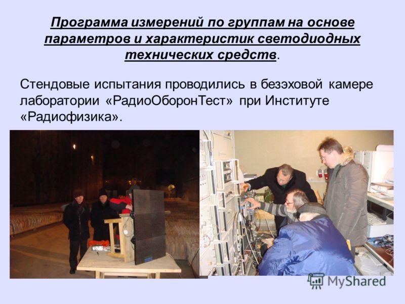 Программа измерений по группам на основе параметров и характеристик светодиодных технических средств. Стендовые испытания проводились в безэховой камере лаборатории «РадиоОборонТест» при Институте «Радиофизика».
