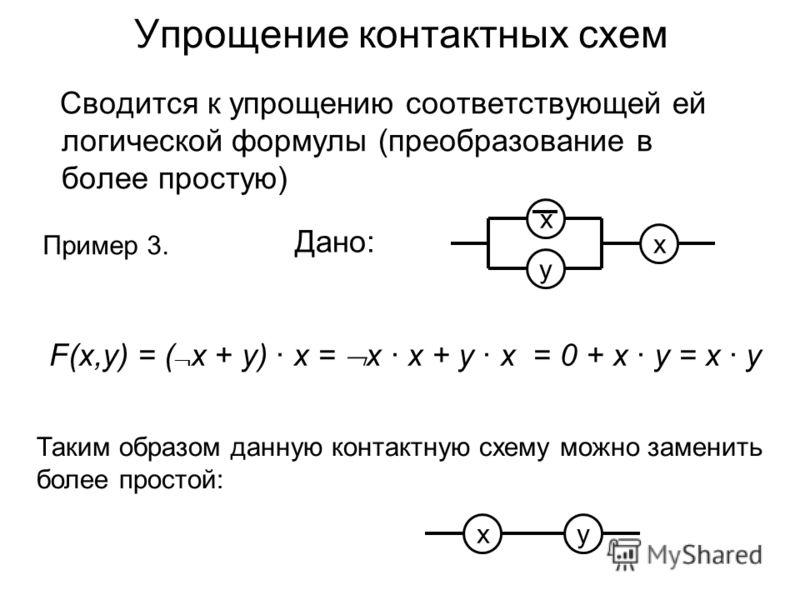 Упрощение контактных схем Сводится к упрощению соответствующей ей логической формулы (преобразование в более простую) Дано: y х х Пример 3. F(x,y) = ( x + y) · х = x · х + y · х = 0 + х · у = х · у ху Таким образом данную контактную схему можно замен