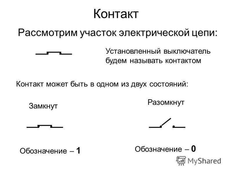 Контакт Рассмотрим участок электрической цепи: Установленный выключатель будем называть контактом Контакт может быть в одном из двух состояний: Замкнут Разомкнут Обозначение – 1 Обозначение – 0
