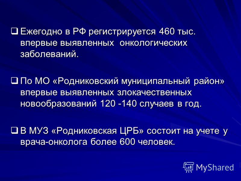 Ежегодно в РФ регистрируется 460 тыс. впервые выявленных онкологических заболеваний. Ежегодно в РФ регистрируется 460 тыс. впервые выявленных онкологических заболеваний. По МО «Родниковский муниципальный район» впервые выявленных злокачественных ново