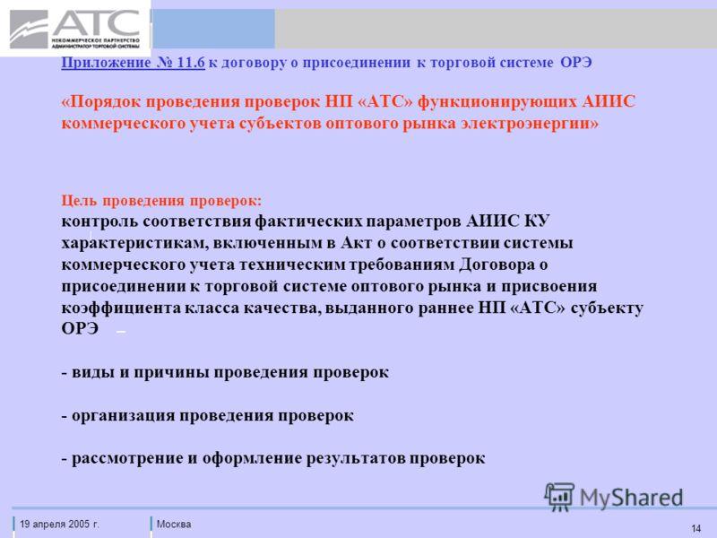 19 апреля 2005 г.Москва 14 Приложение 11.6 к договору о присоединении к торговой системе ОРЭ «Порядок проведения проверок НП «АТС» функционирующих АИИС коммерческого учета субъектов оптового рынка электроэнергии» Цель проведения проверок: контроль со