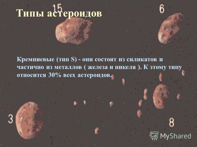 Кремниевые (тип S) - они состоят из силикатов и частично из металлов ( железа и никеля ). К этому типу относится 30% всех астероидов. Типы астероидов
