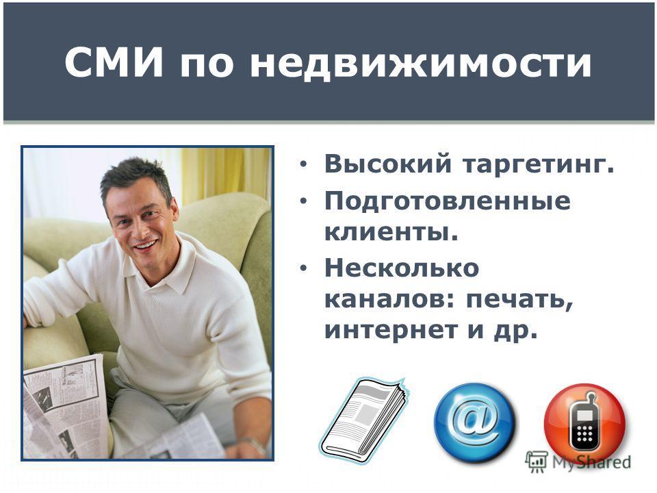 СМИ по недвижимости Высокий таргетинг. Подготовленные клиенты. Несколько каналов: печать, интернет и др.