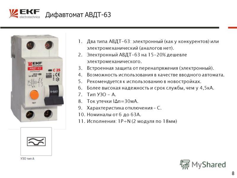 8 Дифавтомат АВДТ-63 1.Два типа АВДТ-63: электронный (как у конкурентов) или электромеханический (аналогов нет). 2.Электронный АВДТ-63 на 15-20% дешевле электромеханического. 3.Встроенная защита от перенапряжения (электронный). 4.Возможность использо