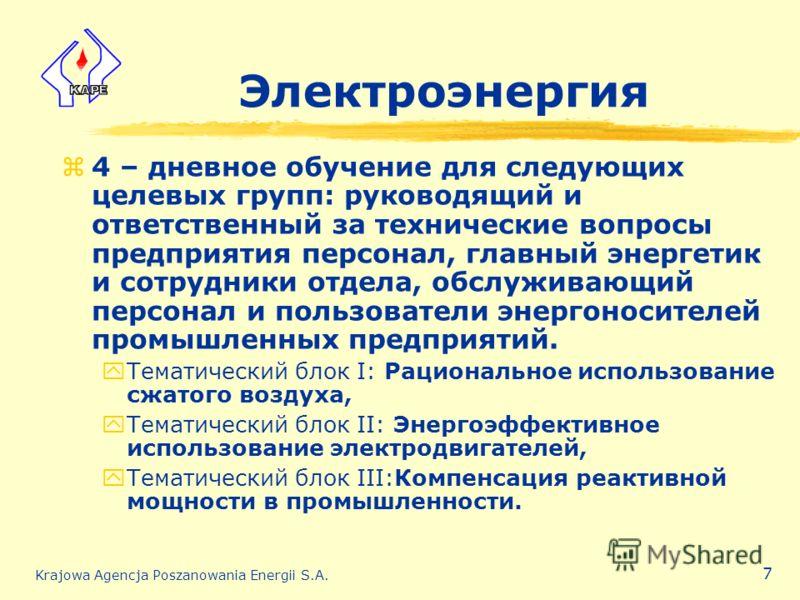 Krajowa Agencja Poszanowania Energii S.A. 7 Электроэнергия z4 – дневное обучение для следующих целевых групп: руководящий и ответственный за технические вопросы предприятия персонал, главный энергетик и сотрудники отдела, обслуживающий персонал и пол