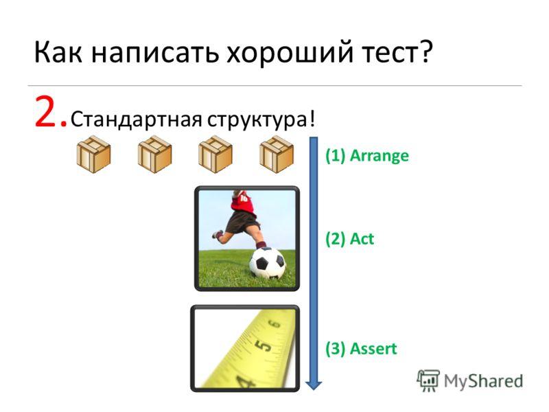Как написать хороший тест? 2. Стандартная структура! (1) Arrange (2) Act (3) Assert