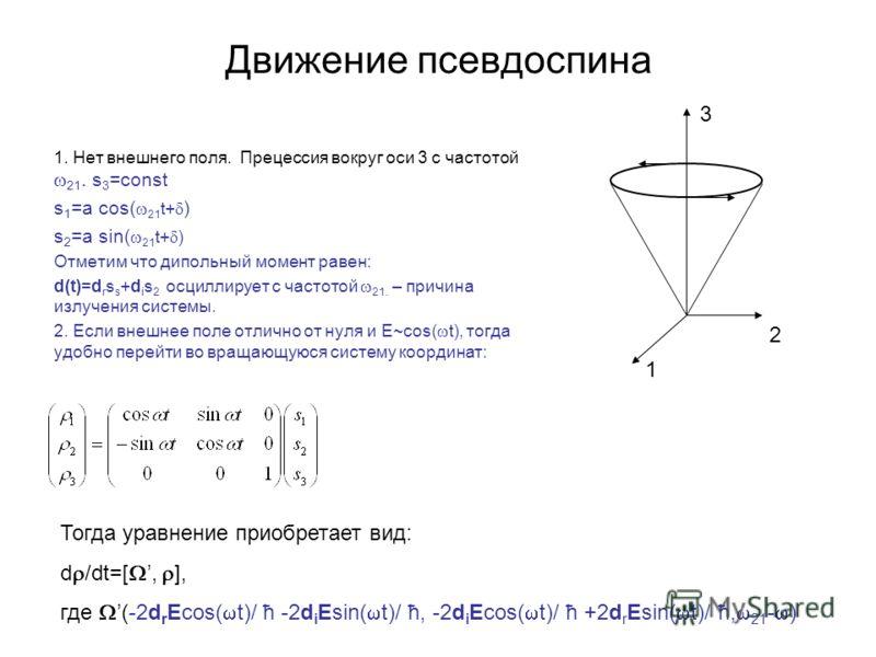 Движение псевдоспина 1. Нет внешнего поля. Прецессия вокруг оси 3 с частотой 21. s 3 =const s 1 =a cos( 21 t+ ) s 2 =a sin( 21 t+ ) Отметим что дипольный момент равен: d(t)=d r s s +d i s 2 осциллирует с частотой 21. – причина излучения системы. 2. Е