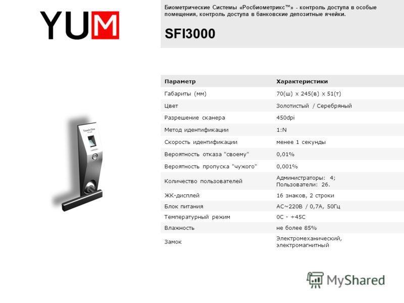 Биометрические Системы «Росбиометрикс» - контроль доступа в особые помещения, контроль доступа в банковские депозитные ячейки. SFI3000 ПараметрХарактеристики Габариты (мм)70(ш) х 245(в) х 51(т) ЦветЗолотистый / Серебряный Разрешение сканера450dpi Мет