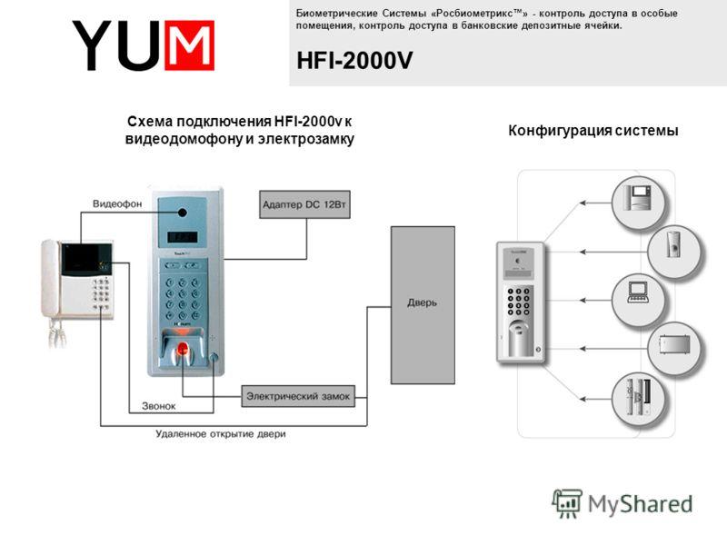 Биометрические Системы «Росбиометрикс» - контроль доступа в особые помещения, контроль доступа в банковские депозитные ячейки. HFI-2000V Конфигурация системы Схема подключения HFI-2000v к видеодомофону и электрозамку